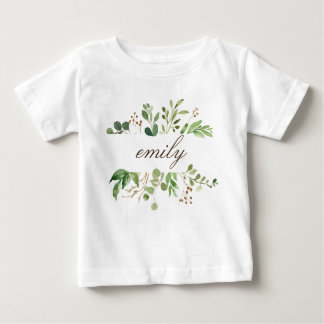 Greenery Personalized Name Baby Baby T-Shirt