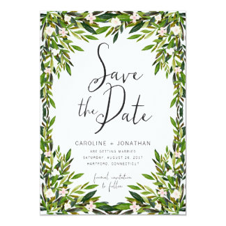Greenery Save the Date Card
