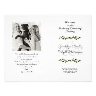 Greenery Vines Folded Photo Wedding Program Flyer