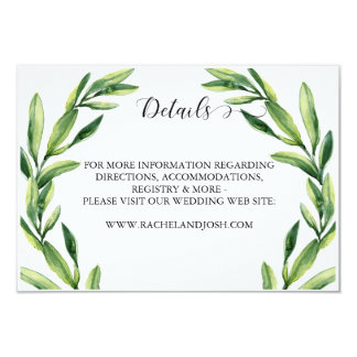 Greenery Watercolor Details Card