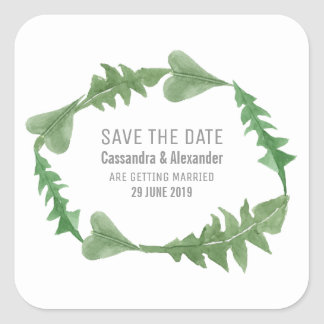Greenery Watercolor Foliage Save the Date Square Sticker