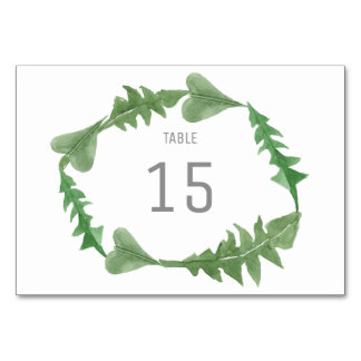 Greenery Watercolor Foliage Table Card
