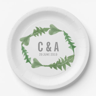 Greenery Watercolor Foliage Wedding 9 Inch Paper Plate