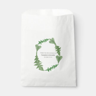 Greenery Watercolor Foliage Wedding Favour Bags
