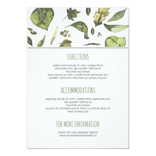 Greenery Watercolor Leaves Wedding Details Card