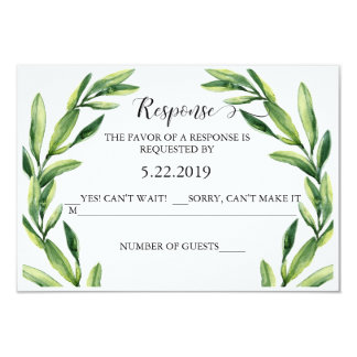 Greenery Watercolor RSVP Card