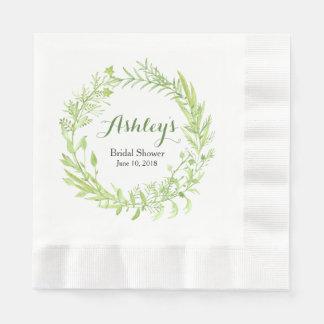Greenery Watercolor Wreath Bridal Shower Paper Napkin