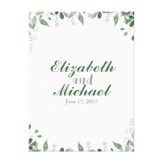 Greenery Wedding Guestbook Canvas Print