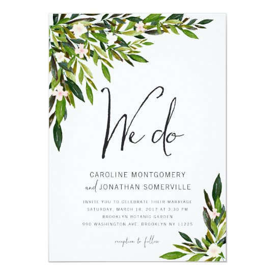 Greenery Wedding Invitation Set Botanical Invite