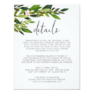 Greenery Wedding Invitation Set Enclosure Card