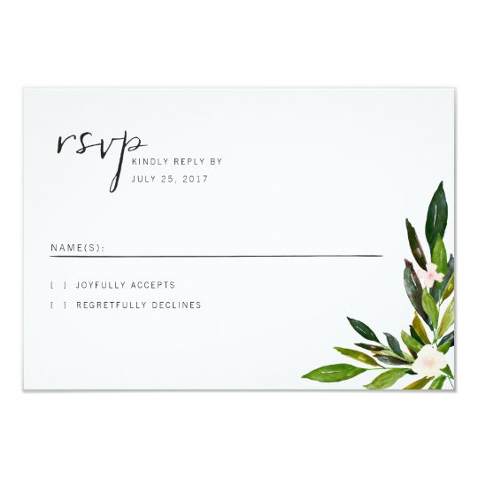 Greenery Wedding Invitation Set RSVP Card
