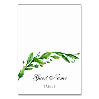 Greenery wedding place card. Green seating card