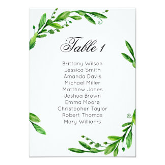 Greenery wedding seating chart. Summer table plan Card