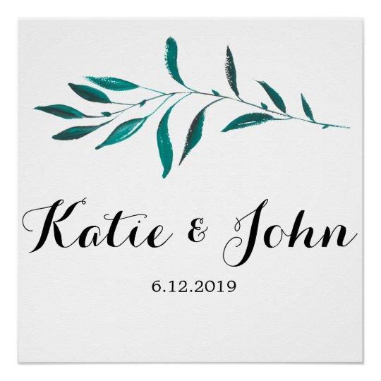 Greenery Wedding Sign - Leaves Wedding