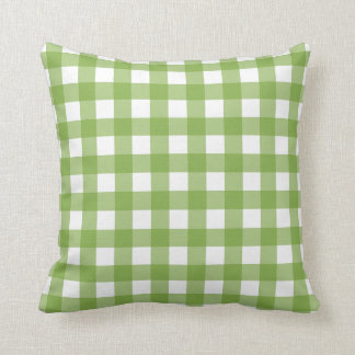 Greenery & White Gingham Check Cushion