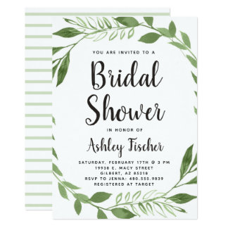Greenery Wreath Bridal Shower Invitation