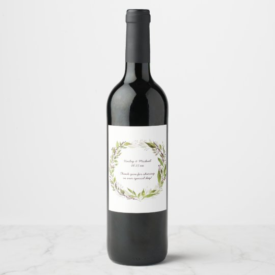 Greenery Wreath Dark Purple Berries Wine Label