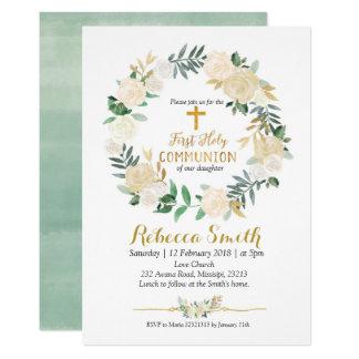 Greenery Wreath First Holy Communion Invitation