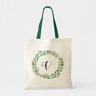 Greenery wreath Monogram Name Tote- Adiantum Tote Bag