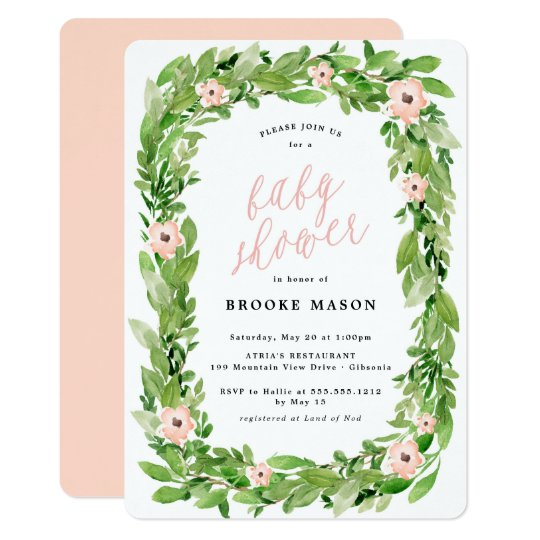 Greenery Wreath Spring Baby Shower Invitation