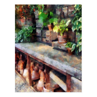 Greenhouse with Flowerpots Postcard