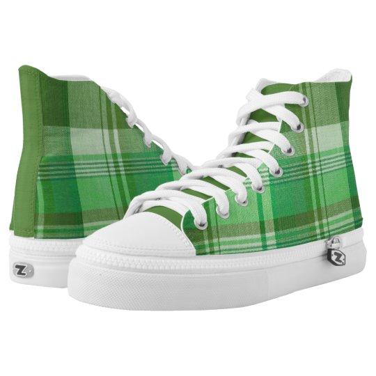 Greenie, Green Plaid High  Top Sneakers