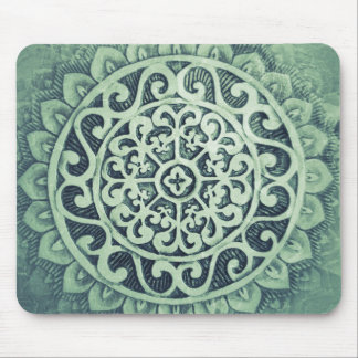 Greenish Aztec Flower Pattern Mouse Pad