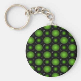 Greenish Chessboard 3D Design Green Keychains