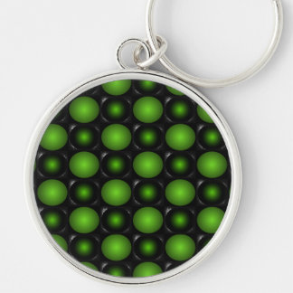 Greenish Chessboard 3D Design Green Key Chains