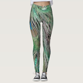 greenish iridescent Peacock Feathers Leggings