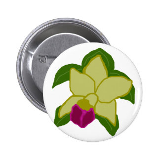 Greenish orchid sea turtle button
