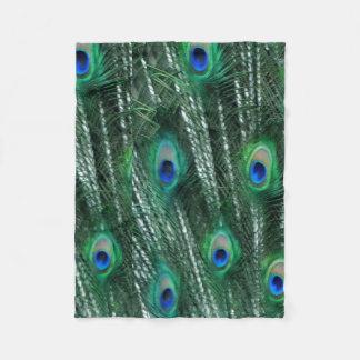 Greenish Peacocks Opening Feathers Fleece Blanket