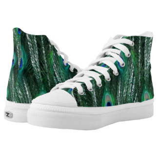 Greenish Peacocks Opening Feathers High Tops