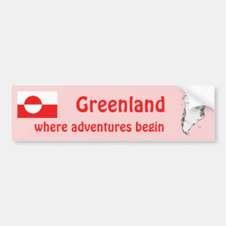 Greenland Flag and Map Bumper Sticker