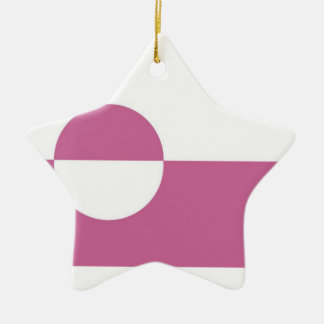 Greenland Flag Double-Sided Star Ceramic Christmas Ornament