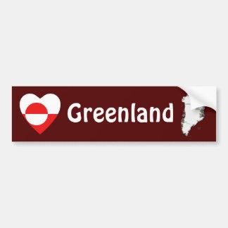 Greenland Flag Heart + Map Bumper Sticker