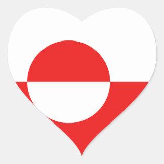 Greenland Flag Heart Sticker