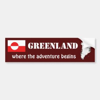 Greenland Flag + Map Bumper Sticker