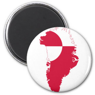 Greenland Flag Map GL 6 Cm Round Magnet