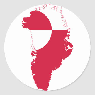 Greenland Flag Map GL Classic Round Sticker