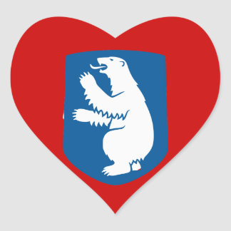 Greenland Flag Map GL Heart Sticker