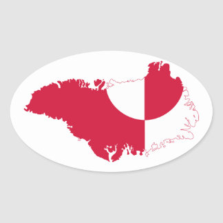 Greenland Flag Map GL Oval Sticker