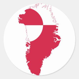 Greenland Flag Map GL Round Sticker