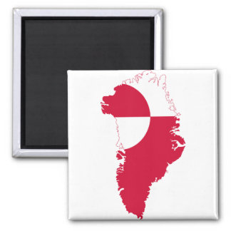 Greenland Flag Map GL Square Magnet
