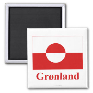 Greenland Flag with Name in Danish Square Magnet