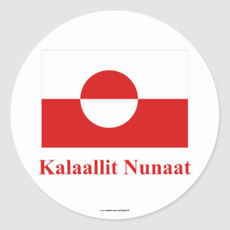 Greenland Flag with Name in Kalaallisut Round Stickers