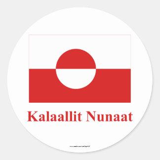 Greenland Flag with Name in Kalaallisut Round Stickers