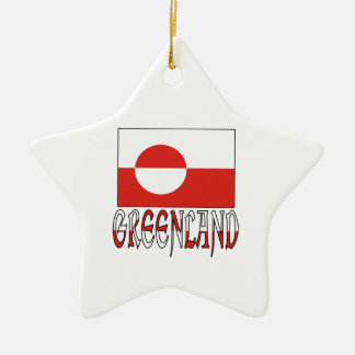 Greenland Flag Word Christmas Ornament