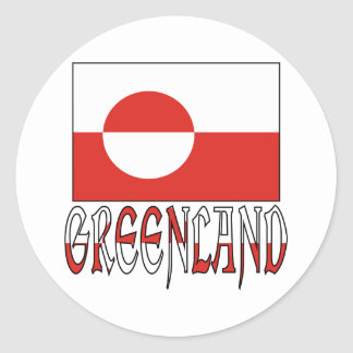 Greenland Flag Word Classic Round Sticker
