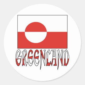 Greenland Flag Word Round Sticker